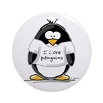 I Love Penguins penguin Ornament (Round)