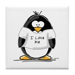 I Love Me penguin Tile Coaster