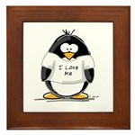 I Love Me penguin Framed Tile