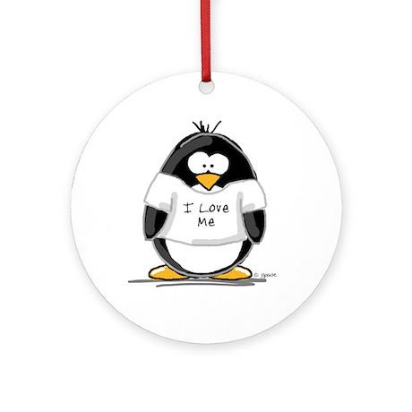 I Love Me penguin Ornament (Round)