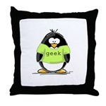 Geek penguin Throw Pillow