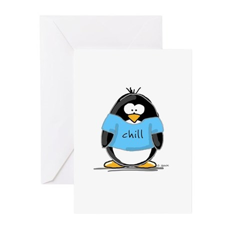 Chill penguin Greeting Cards (Pk of 10)