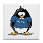 Best Dad penguin Tile Coaster