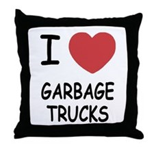 I heart garbage trucks Throw Pillow