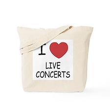 I heart live concerts Tote Bag