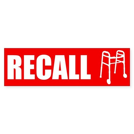 recall_walker_bmpr Bumper Sticker