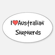 I heart Australian Shepherds Sticker (Oval)
