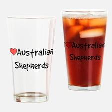 I heart Australian Shepherds Drinking Glass