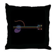 Neon Guitar Throw Pillow