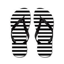 Horizontal Stripe Black and White Flip Flops
