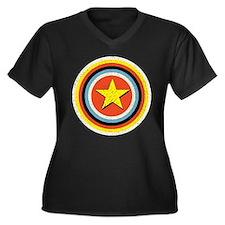 Bullseye Star Women's Plus Size V-Neck Dark T-Shir