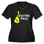 Guitar Face Women's Plus Size V-Neck Dark T-Shirt