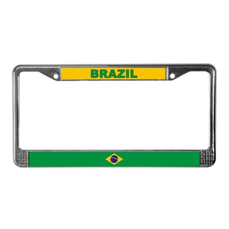 Brazil World Flag License Plate Frame