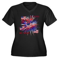 Cute Patriotic Women's Plus Size V-Neck Dark T-Shirt