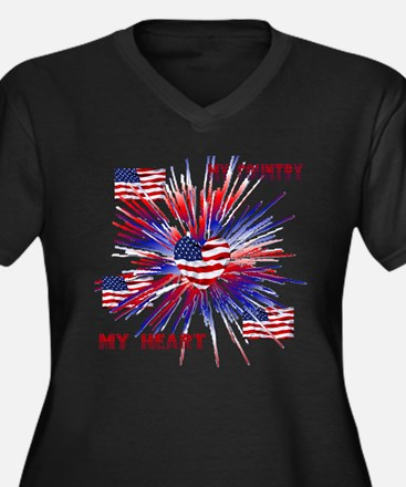 Unique Patriotic Women's Plus Size V-Neck Dark T-Shirt