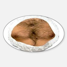 hairy chest Sticker (Oval 10 pk)