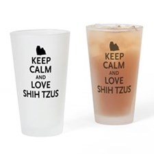 Keep Calm Shih Tzus Drinking Glass