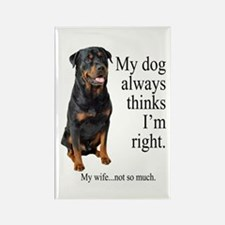 Rottie Vs Wife Rectangle Magnet