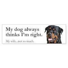 Rottie Vs Wife Bumper Sticker