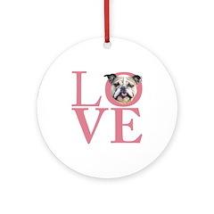 Love - Bulldog Ornament (Round)