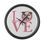 Love - Bulldog Large Wall Clock