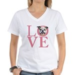 Love - Bulldog Women's V-Neck T-Shirt