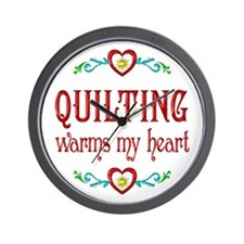Quilting Warms My Heart Wall Clock