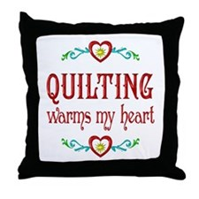Quilting Warms My Heart Throw Pillow