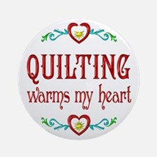 Quilting Warms My Heart Ornament (Round)