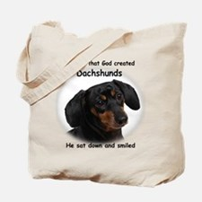 God Created Dachshunds Tote Bag