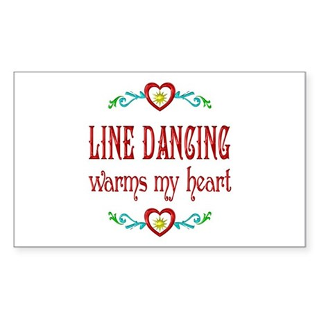 Line Dancing Warms Hearts Sticker (Rectangle)