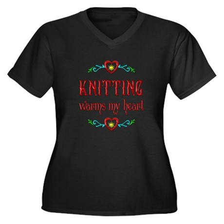 Knitting Warms My Heart Women's Plus Size V-Neck D