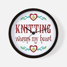 Knitting Warms My Heart Wall Clock