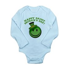 St. Patrick's Day Happy Face Long Sleeve Infant Bo