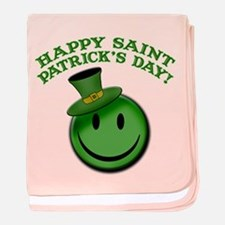 St. Patrick's Day Happy Face baby blanket
