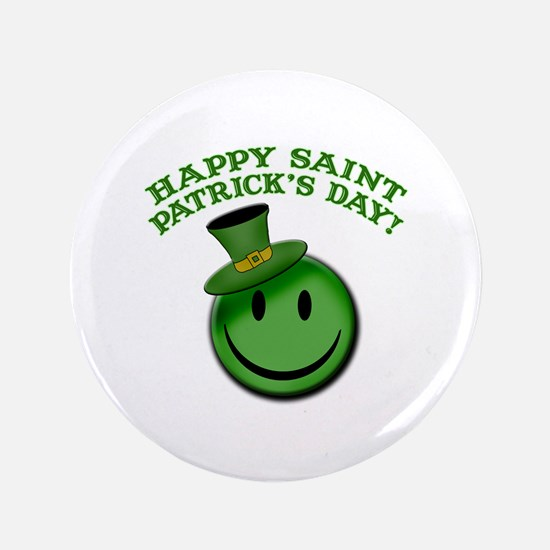 """St. Patrick's Day Happy Face 3.5"""" Button"""