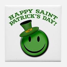 St. Patrick's Day Happy Face Tile Coaster