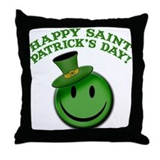 St. Patrick's Day Happy Face Throw Pillow
