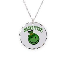St. Patrick's Day Happy Face Necklace Circle Charm