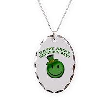 St. Patrick's Day Happy Face Necklace Oval Charm