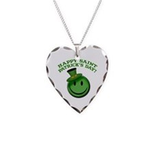 St. Patrick's Day Happy Face Necklace Heart Charm