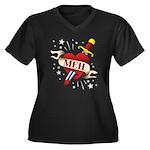 Meh Tattoo Women's Plus Size V-Neck Dark T-Shirt