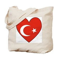 Turkish Flag Heart Valentine Tote Bag