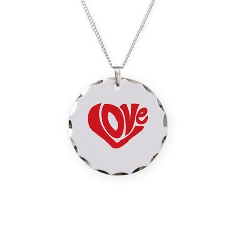Cute I Heart Love Valentines Day Necklace Circle C