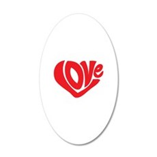 Cute I Heart Love Valentines Day 22x14 Oval Wall P