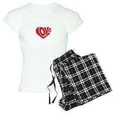 Cute I Heart Love Valentines Day pajamas