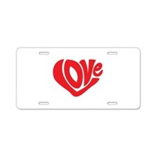 Cute I Heart Love Valentines Day Aluminum License