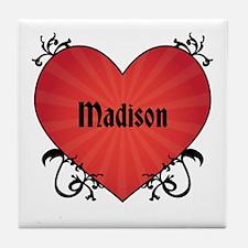 Custom Name Tattoo Heart Tile Coaster