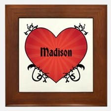 Custom Name Tattoo Heart Framed Tile