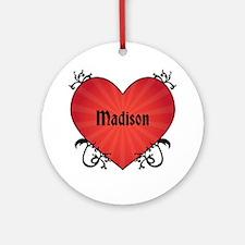 Custom Name Tattoo Heart Ornament (Round)